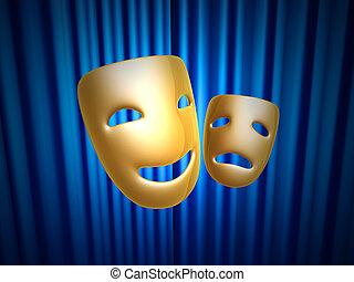 komedie en tragedie, maskers, op, blauw gordijn