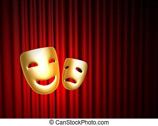 komedie en tragedie, maskers, op, rood gordijn