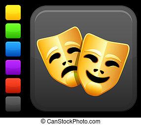 komedie en tragedie, maskers, pictogram, op, plein,...