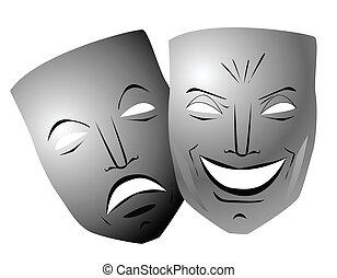 komedie en tragedie, maskers