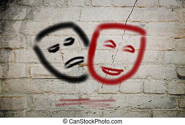 komedie en tragedie, theatrale maskers, concept