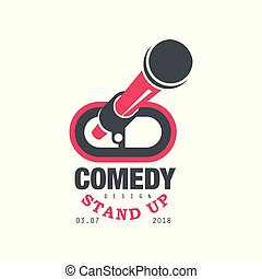 komedie, opstaan, tonen, embleem, met, datum, vector, illustratie, op, een, witte achtergrond
