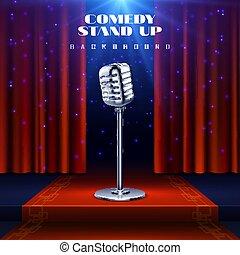 komedie, opstaan, vector, achtergrond, met, retro, microfoon, op stadium, en, rood gordijn