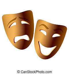 komedie tragedie, masker