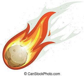 komet, feuerball, karikatur, fliegendes