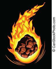 komet, flammen