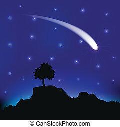 komet, fliegendes, himmelsgewölbe, nacht