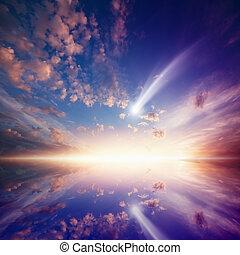 komet, glühen, sonnenuntergang, erstaunlich, fallender