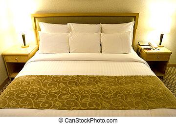 komfortabel, säng