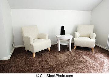 komfortabel, vardagsrum, affär