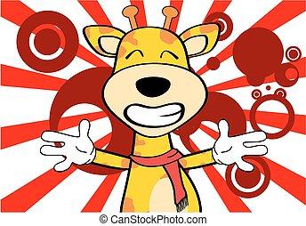 komický, žirafa, karikatura, emoce, card1