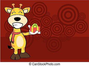 komický, žirafa, karikatura, emoce, card2