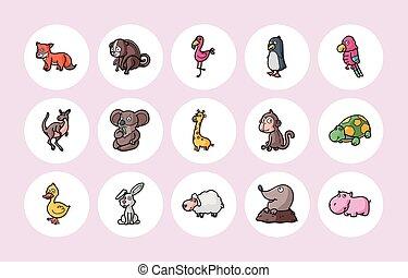 komický, živočichy, ikona, dát