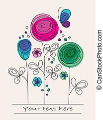 komický, barvitý, grafické pozadí, s, abstraktní, květiny