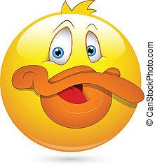 komický, kachna, smiley, charakter, čelit
