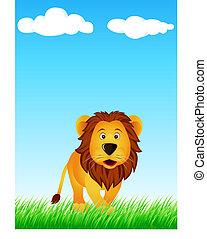 komický, lev, karikatura