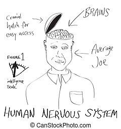 komický, lidská bytost mozeček, karikatura