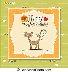 komický, narozeniny karta, kočka