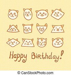 komický, nudnó, podělanost devítiocasá kočka, grafické pozadí., narozeniny karta, šťastný
