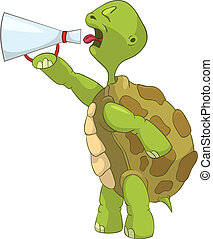 komický, screaming., turtle.