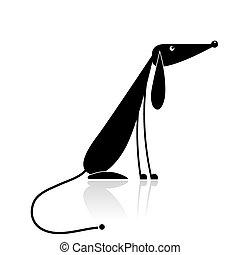 komický, silueta, pes, design, čerň, tvůj