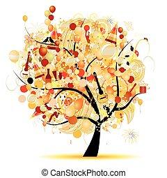 komický, strom, symbol, dovolená, oslava, šťastný
