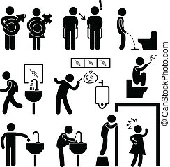 komický, veřejný toaleta, ikona, piktogram