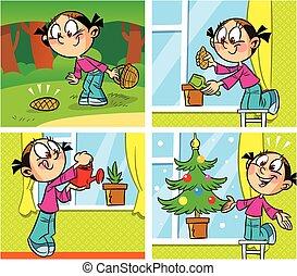 komieken, boompje, kerstmis