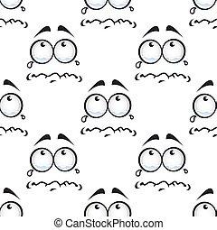 komieken, model, seamless, het schreeuwen, gezichten