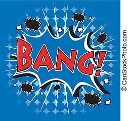 komieken, op, blauwe achtergrond, pictogram