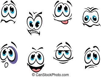 komieken, set, gezichten