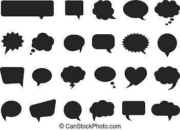komieken, silhouettes, vector, bellen, denken, praatje