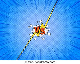 komieken, vs, illustration.