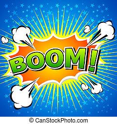 komik, boom!, mowa, bubble.