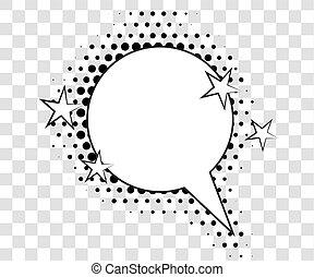 komik, mowa, bańki, z, halftone, shadows., wektor, ilustracja, eps, 10, odizolowany, na, tło.