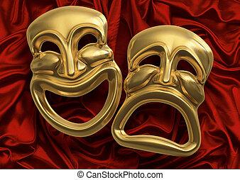 komik, tragedie maskerer