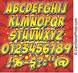 komiker, alfabet, stil, kollektion