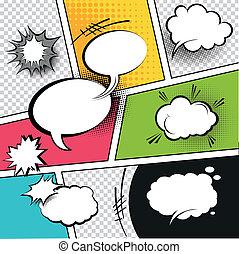 komiker, anförande, bubblar, remsa