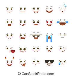 komiker, emoji, symbole, für, internet, plaudern