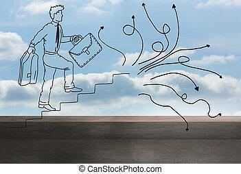 komiker, mann, aus, balkon, und, himmelsgewölbe