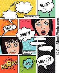komiker, sprechblasen, gefuehle
