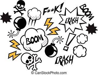 komiker, vektor, anförande, bubblar