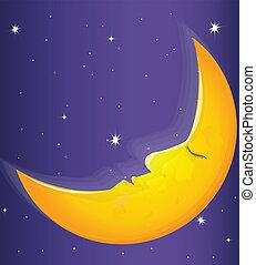 komiker, vektor, måne