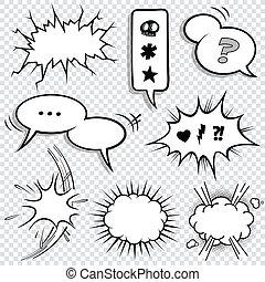 komikus, baloon, karikatúra, állhatatos, 2
