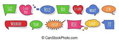 komikus, beszélgetés, buborék, állhatatos, kifejezés, beszéd, szavak, színes