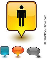 komikus, hím, beszéd, icons.