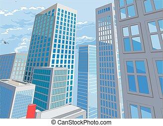 komikus, karikatúra, város, mód, könyv, háttér, épületek