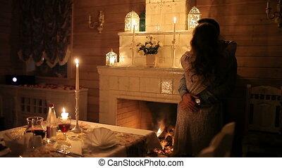 kominek, para, hałasy, światło świecy, kochający