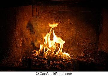 kominek, wnętrze, powstanie, płomienie, feniks