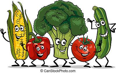 komisch, groep, groentes, illustratie, spotprent